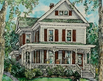 Watercolor of Your Home -Original Custom House Portraits-Pen/Ink and Watercolor House Portraits,House Painting,Pen and Ink House