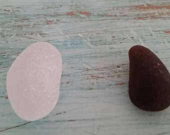 2 Thick Heavily Frosted Pieces of Seaglass 1 Frosty White 1 Dark Brown