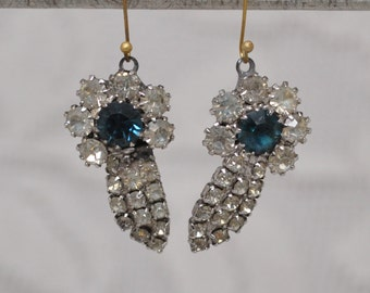 2 Vintage Charms Mid-Century Rhinestones Royal Blue for Assemblage Jewelry