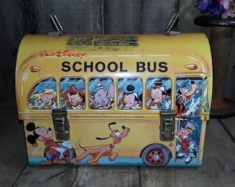 Vintage Walt Disney School Bus Lunch Box with Aladdin Thermos