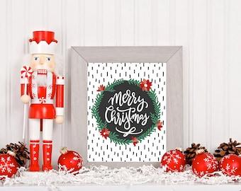 Merry Christmas Wreath Digital Download | Printable | 8x10