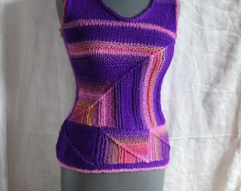 Patchwork , Unique hand knitted Vest , Top,  Sweater , Boho, Gypsy, Hippie Vest, Top / Size S-M / one of a kind/ gift for her