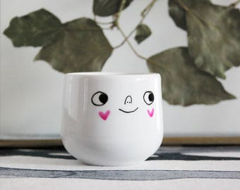 Easter egg cup gift or decor. Easter gift. Anniversary gift. Mother's Day gift. Eggcup with smile and pink heart cheeks