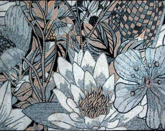 White Lotus Flower Mosaic Art