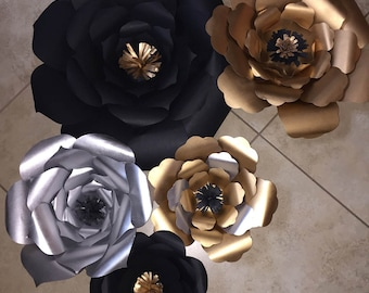 Black, Gold and Silver paper flowers for backdrop