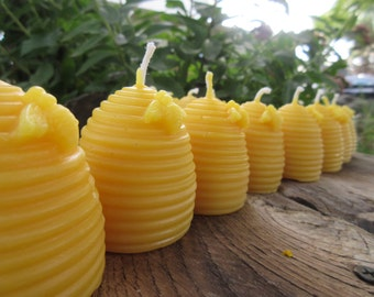 Set of 45 Beeswax Candles- Hive shaped with bee, votive size