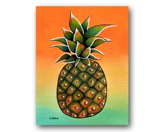 Pineapple Painting Hawaiian Home Decor, Pineapple Wall Art Tropical Fruit Kitchen Decor, Pineapple Decor, Fruit Decor