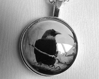 Raven necklace raven pendant black crow pendant silver chain necklace witchcraft goth emo handmade.