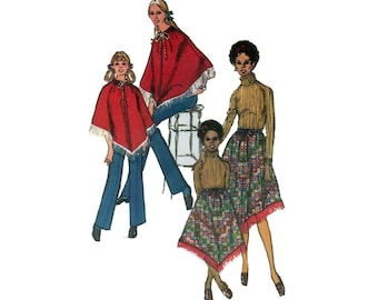 70s uncut Cape pattern Mother Daughter cape pattern Poncho skirt pattern One Size  Simplicity 9146