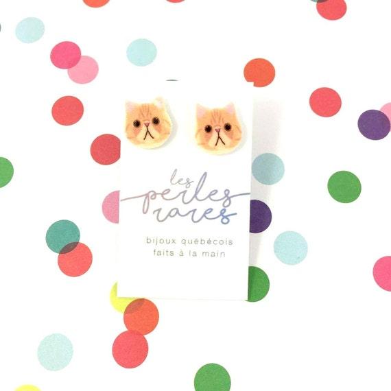 caramel cute kitty, little cat, orange, cat, earring, catlover,  plastic, stainless stud, handmade, les perles rares