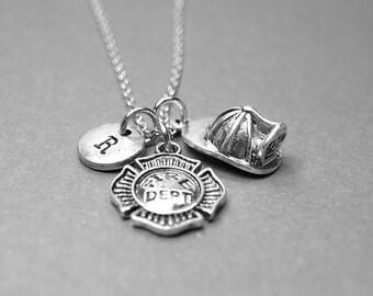 Firefighter's helmet necklace, fireman helmet necklace, fire department necklace, firefighter hat necklace, initial necklace, personalized