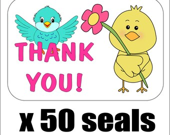 """50 Cute Birds Thank You Envelope Seals / Labels / Stickers, 1"""" by 1.5"""""""