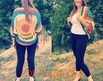 Crochet Mandala Cardigan PDF Pattern