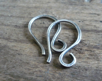 HEAVY 18 Gauge Twinkle Sterling Silver Earwires - Handmade. Hand forged. Oxidized & polished