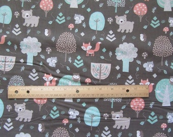 Brown Woodland Animal/Bear/Fox/Owl/Trees Cotton Fabric by the Yard