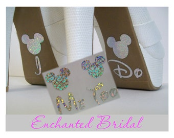 Disney Inspired I Do and Me Too Shoe Stickers You Pick Color Sparkly Wedding Shoe Decals Disney Decals Disney Bride Mickey Shoe Stickers