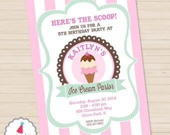 Ice Cream Party Invitation   Ice Cream Birthday Invitation   Ice Cream Printable   Ice Cream Social Invite   Amanda's Parties To Go