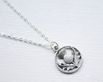 Scottish Thistle Necklace- Tiny Thistle Charm - Outlander Necklace - Double Sided Silver