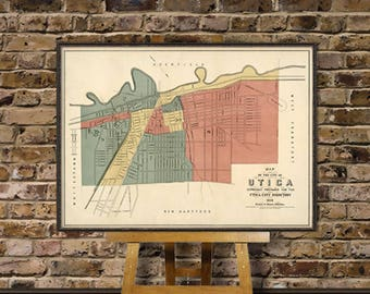 Utica map - Old map of Utica - Old city map fine print
