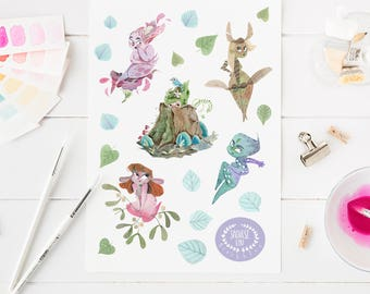 Sticker sheet, fairy stickers, planner stickers, cute stationery, stationery addict, fairy gift, planner girl gift, faerie sticker sheet,