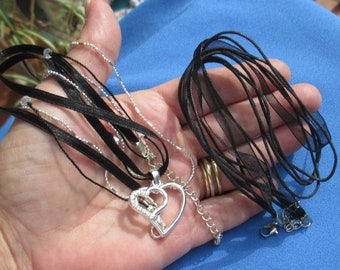 Lot Of Retro Black Ribbon Necklaces One With Double Rhinestone Heart Pendant