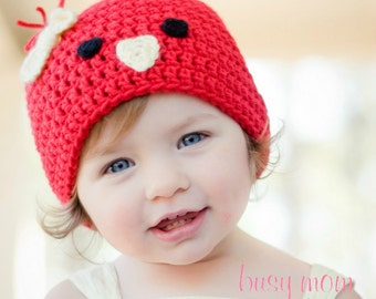 CROCHET Beanie PATTERN - Chick or Bird Hat - Preemie to Adults Sizes Included - pdf 110 - Sell what you Make