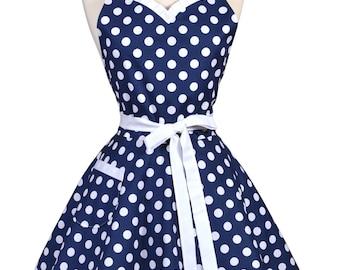 Sweetheart Retro Apron - Nautical Navy Blue Polka Dot Apron - Womens Flirty Sexy Kitchen Pinup Cute Apron with Pocket - Monogram Option