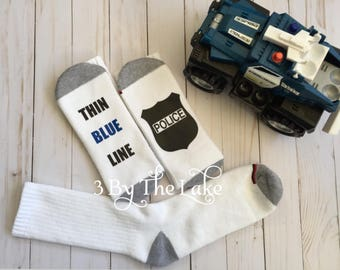 "Police ""Thin Blue Line, Police Badge... Men's Personalized Police Athletic Socks"