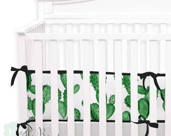 Watercolor Cactus 2-in-1 Crib Bumper/Rail Cover | Convertible Gender Neutral Baby Bumper Set | Watercolor Cactus Crib Bumper Set