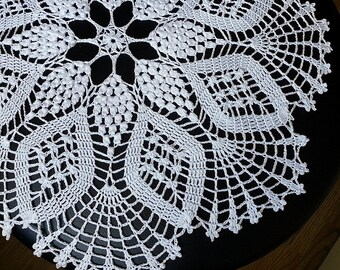 "WHITE CROCHET DOILY Round 42 cm / 16,5"". Crocheted Doily."