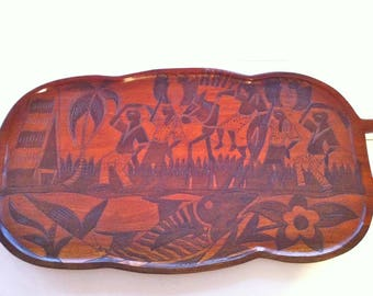 Wooden Haiti Two-Sided Carved Tray/Wooden Haiti Platter/Haiti Wood Carved Tray/Haiti Art/Hand Carved Haiti Wooden Platter/Haiti Folk Art