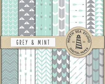 BUY5FOR8 Arrows Digital Paper Grey And Mint Arrow Paper Tribal Background Arrow Geometric Digital Scrapbooking Mint Grey Boho Download