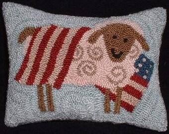 Primitive Punch Needle Pillow Pin Keep Americana Sheep