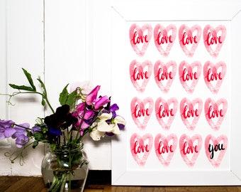 Love You Print | Romantic Art Print | Pop Art | Red Bedroom Decor | Love Art Print | Love Heart Art Print | Love Heart Decor | Wedding Sign