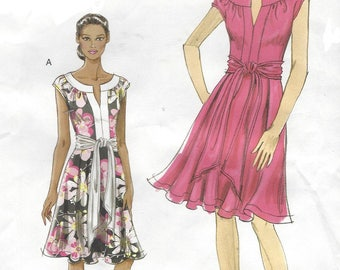 Womens Knit Summer Dress and Sash Neckline Detail & Cap Sleeve OOP Vogue Sewing Pattern V8553 Size 6 8 10 12 Bust 30 1/2 to 34 UnCut