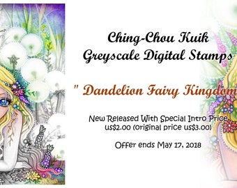 Intro Price- Dandelion Fairy Kingdom -Grayscale Digital Stamp  - PRINTABLE Instant Download / Flower Girl Fantasy Art by Ching-Chou Kuik