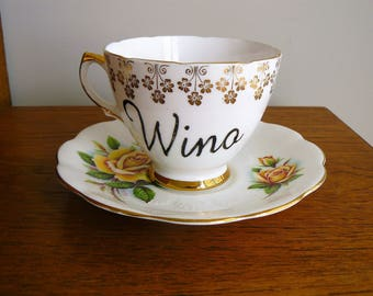 Wino hand painted vintage teacup saucer mismatched set recycled humor drinker vino decor