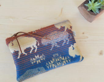 Clutch Made with Pendleton® Wool Fabric / Bridesmaid Gift / Boho Bag / Wool Pouch / Clutch Purse / Coin Purse / Gift for her / Zipper Pouch