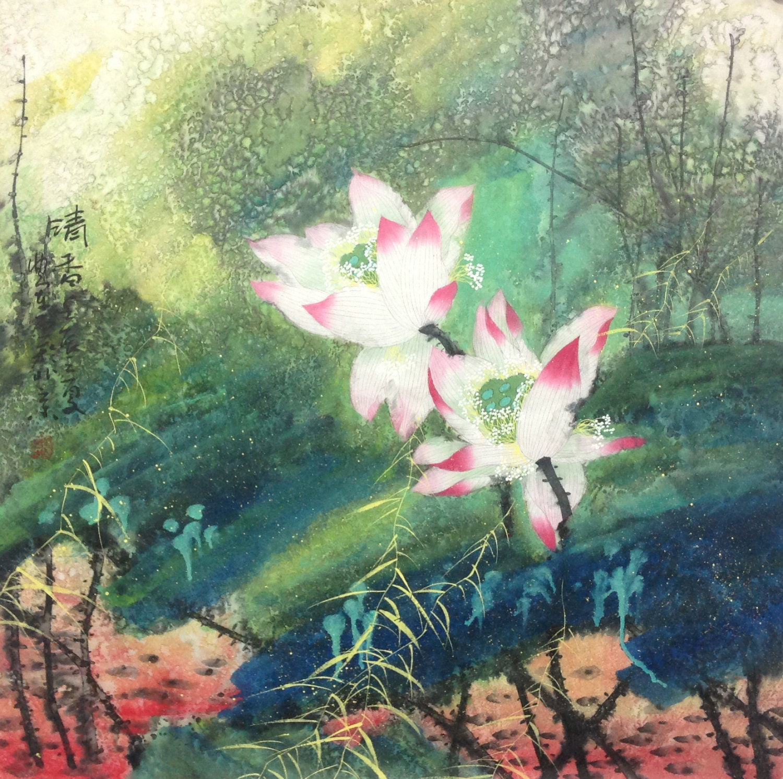 Abstract flower painting lotus painting original painting zoom izmirmasajfo