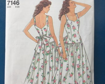 Misses Drop Waist Dress Sizes 8 - 20 Simplicity #7146 So Easy Sewing Pattern, uncut