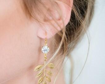 LAUREL leaf goddess statement dangly bridal earrings, bohemian leaves wedding jewelry