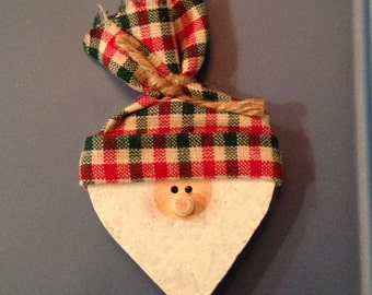 Santa with Red, a Green, and White Checked Hat Pin