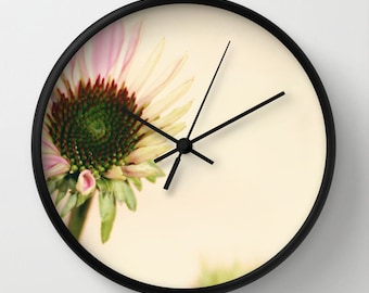 Floral Wall Clock - Flower Photography - Cottage Chic - Home Decor - Art Wall Clock - Pink and Yellow photography