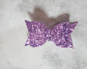 Small lilac pale purple glitter hair bow clip