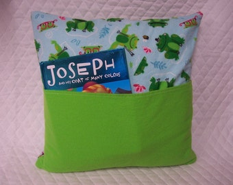Frog Reading Book Pillow 14X14