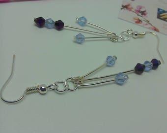 Long silver earrings crystal cluster