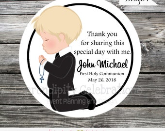 Holy Communion boy tags or stickers, Confirmation, Religious, Set of 12 Personalized Favor Tags, Stickers, Party Favors, mi primera comunion