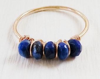 gemstone Ring, 14kt Gold Filled, Lapis Lazuli, stacking thin skinny stacker bridesmaid bridal party