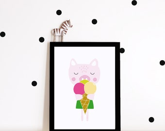 Girl Nursery decor, nursery art, Kids room art print, nursery poster, girls room decor, animal art print, pig poster