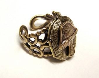 Steampunk Eat Me Locket Ring, Alice Wonderland, Mushroom Locket Ring